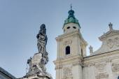 Cathedral square (Domplatz) located in Salzburg, Austria — Foto Stock