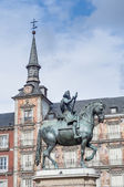 Philip III on the Plaza Mayor in Madrid, Spain. — Foto Stock