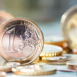 Extremely close up view of European currency — Stock Photo #61717697