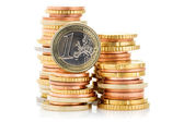 Different height stacks of Euro coins  — Stock Photo