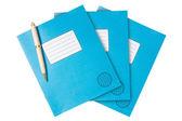 Three exercise books — Stock Photo