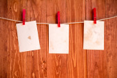 Photo  frames hanging on a rope — Stock Photo