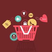 Basket of goods. — Stock Vector