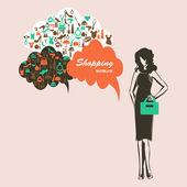 Femme shopping — Vecteur
