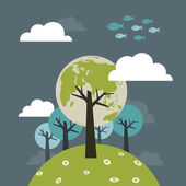 Planet of the trees — Stock Vector