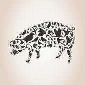 Pig made of birds — Vector de stock