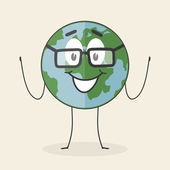Planet character with glasses — Stock Vector