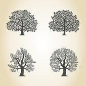 Oak trees set — Stock Vector