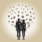 Art icons around people. — Vector de stock