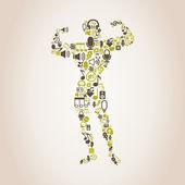 Bodybuilding music symbol — Stock Vector