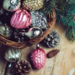 Decorations in a wicker basket — Stock Photo #57220199