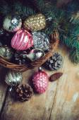 Decorations in a wicker basket — Stock Photo