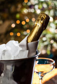 Bottle of chilled champagne — Stock Photo