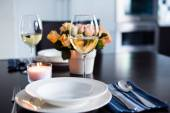 Simple home table setting — Stock Photo