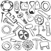 Set of mechanical spare parts and tools - kids drawing — Stock Photo