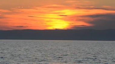 Sunset at Baikal lake — Stock Video