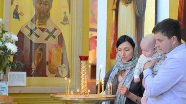 Baptizing at the orthodox church — Stock Video