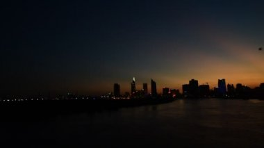 Evening Saigon river — Stock Video