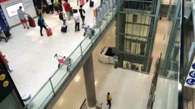 People walk in airport — Stock Video