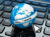 Browser. Internet concept.. Earth on laptop keyboard. — Stock Photo
