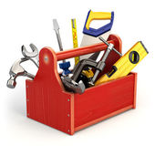 Toolbox with tools on white isolated background. — ストック写真