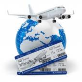 Travel concept. Airplane, earth and tickets. — ストック写真