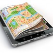 GPS navigation concept. Guide map on the tablet pc screen. — Stock Photo #52345561
