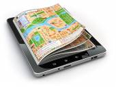 GPS navigation concept. Guide map on the tablet pc screen. — Stock Photo
