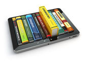E-learning.  Tablet pc and textbooks. Education online. — Stock Photo