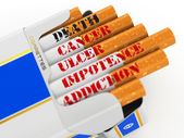 Smoking kills. Cigarette pack with text cancer and death. — Stock Photo