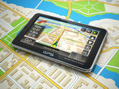 GPS navigation system on the city map. — Stock Photo