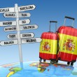 Travel concept. Suitcases and signpost what to visit in Spain. — Stock Photo #53287029