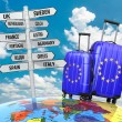 Travel concept. Suitcases and signpost what to visit in Europe. — Stock Photo #53287043