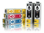 Cartridges for colour inkjet printer. CMYK. — Stock Photo