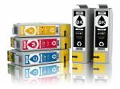 Cartridges for colour inkjet printer. CMYK. — Stock Photo