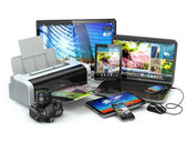 Computer devices. Mobile phone, laptop, printer, camera and tabl — Stock Photo
