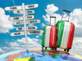 Travel concept. Suitcases and signpost what to visit in Italy. — Stockfoto