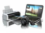 Laptop, photo camera and printer. Preparing images for print. — 图库照片