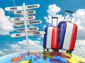 Travel concept. Suitcases and signpost what to visit in France — Stockfoto