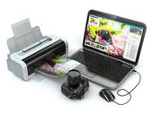 Laptop, photo camera and printer. Preparing images for print. — Stock Photo