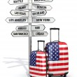 Travel concept. Suitcases and signpost what to visit in USA. — Stock Photo #54186729