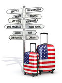 Travel concept. Suitcases and signpost what to visit in USA. — Stockfoto
