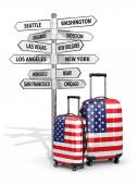 Travel concept. Suitcases and signpost what to visit in USA. — Zdjęcie stockowe
