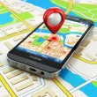 Mobile GPS navigation concept. Smartphone on map of the city, — Stock Photo #54681837