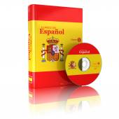 Spanish book  in national flag cover and CD. — Stock Photo