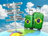 Travel concept. Suitcases and signpost what to visit in Brazil. — Stockfoto