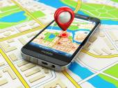 Mobile GPS navigation concept. Smartphone on map of the city, — Stock Photo