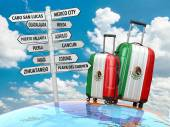 Travel concept. Suitcases and signpost what to visit in Mexico. — Stockfoto