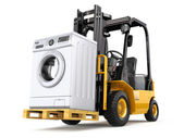 Appliance delivery concept. Forklift truck and washing machine. — Stock Photo