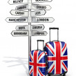 Travel concept. Suitcases and signpost what to visit in UK. — Stock Photo #55251581